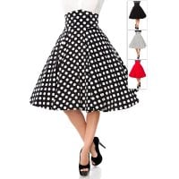Big retro skirt with high waist white dots front