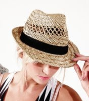 Straw hat with black ribbon