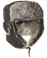 Black fur hat with gray fur