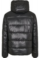 Black padded men's jacket with removable hood back
