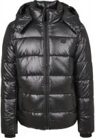 Black padded men's jacket with removable hood front