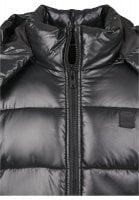 Black padded men's jacket with removable hood neck