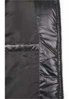 Black padded men's jacket with removable hood pocket inside