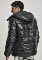 Black padded men's jacket with removable hood big stripes