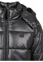 Black padded men's jacket with removable hood zipper