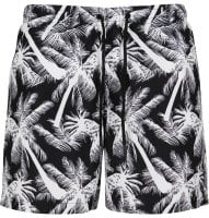 Black swim shorts with white palms mens