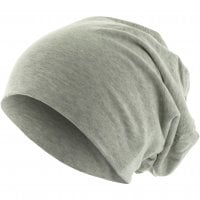 Long Thin Beanie Heather Grey front