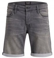 Washed gray jeans shorts men