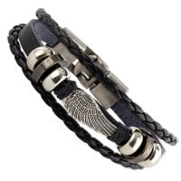 Leather bracelet with wing