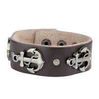 Leather bracelet with anchor