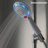 Shower with sensor and temperature meter blue