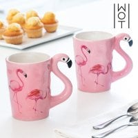 Wagon Trend Flamingo Mug with Handle (Pack of 2)