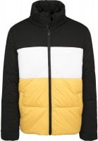 Padded men's jacket with three colors yellow front