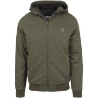 Warm lined cotton jacket with hood olive single front