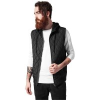Diamond Quilted Hooded Vest black