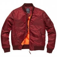 Maroon bomberjacket lady