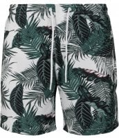 White swim shorts with palm leaves mens 1