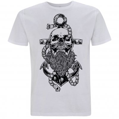 Beard and anchor white T-shirt