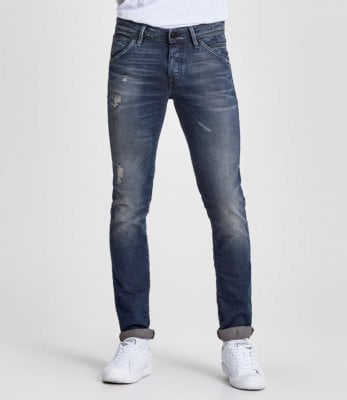 Blue jeans with wear slim fit mens