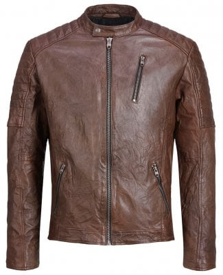 Brown leather jacket mens 1