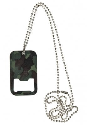 Camo dog tag bottle opener
