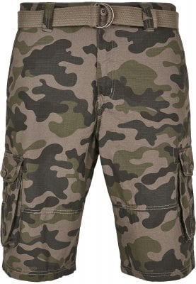 Cargo shorts with belt camouflage 1