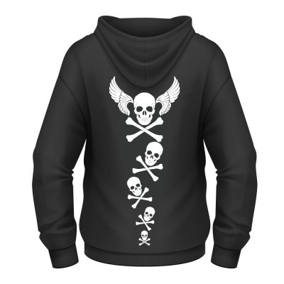 Flying skull dam hoodie från Dirty Hank