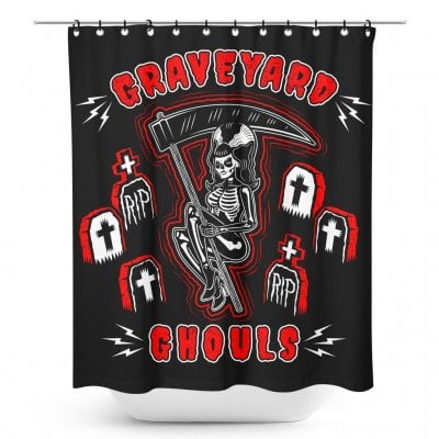 Gravdeyard ghouls shower curtain