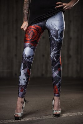 Grey skull leggings - Cuts And Stitches