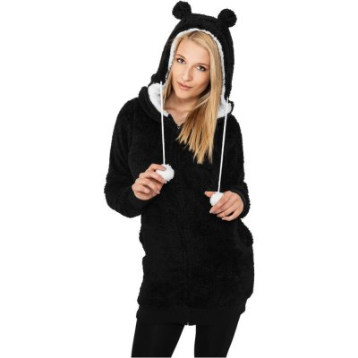 Ladies Long Teddy Zip Hoody svart fram