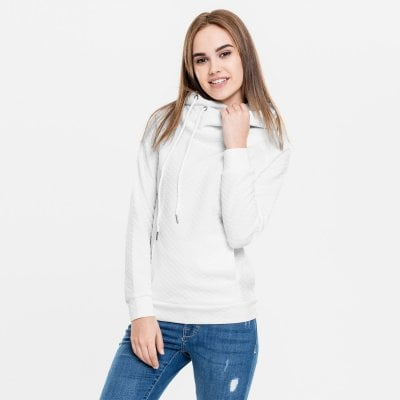 Ladies Quilt Hoody white