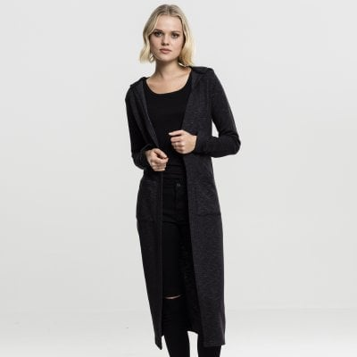 Long cardigan with hood model front