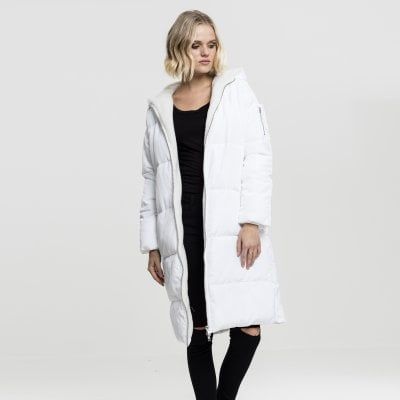Long quilted winter jacket white front