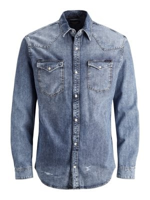 Light blue jeans shirt with wear