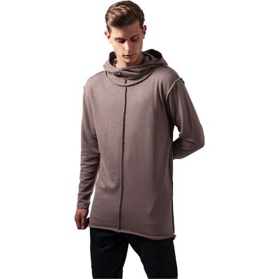 Long slub terry open edge hoody
