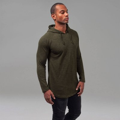 Melange shaped hoody oliv