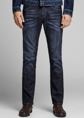Dark blue regular fit jeans men