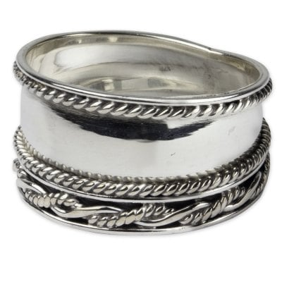 Braided rope silver ring