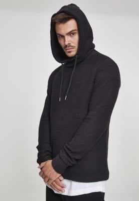 Straight sweater in woven fabric black