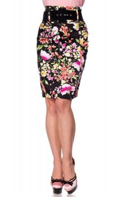 Retro pen skirt large-flowered
