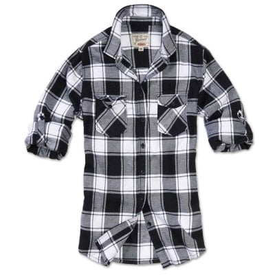 Checkered flannel shirt lady White/Black 1