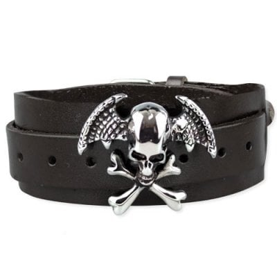 Winged Skull On Leather armband