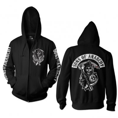 7571531546f SOA Backpatch Zipped Hoodie - Sons Of Anarchy - Tv Film - Oddsailor.com