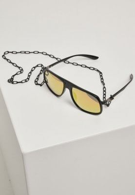 Sunglasses with yellow glass and chain