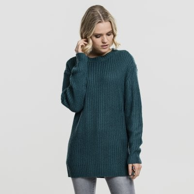 Knitted sweatshirt lady teal front