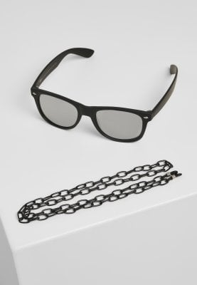 Sunglasses with mirror glasses and chain 1