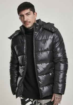Black padded men's jacket with removable hood