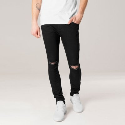 Black jeans with holes in the knees men