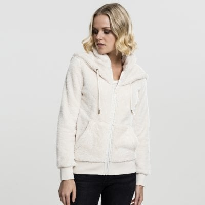 Teddy hoodie with zip lady sand front