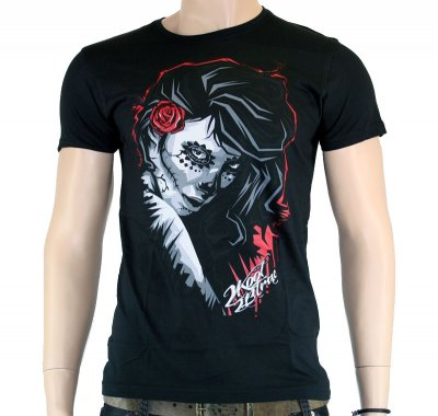 2K2BT girl and rose svart t-shirt